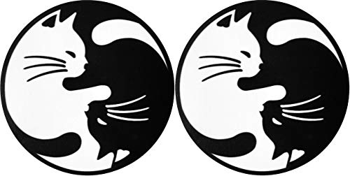 Set 2 pcs. of Papapatch Cat Yin Yang Kung Fu Chinese Tao Balance Sign Vinyl Window Laptop Wall Decor Decal Sticker (STK-CAT-YIN-YANG-S2)
