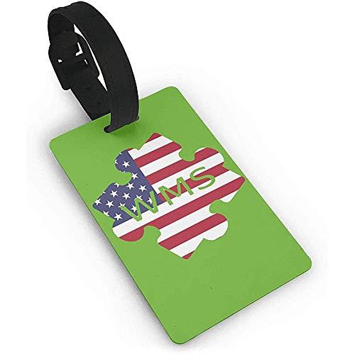 Satz von 2, amerikanische Flagge Kissclipart Autismus 5-Punkt-Skala Ep App Clipart Puzzles, PVC-Gepäck, Kofferanhänger Name Adresse ID-Etikett Reisegepäckanhänger ID-Etiketten