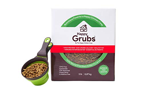 Happy GRUBS - Ultimate BSFL Feed (5lb) - 50X-80X More Calcium Than Meal Worms - Non GMO, Chicken Feed Add, Molting Treatment, Treats for Hens, Wild Birds, Reptiles, Ducks (5lb)
