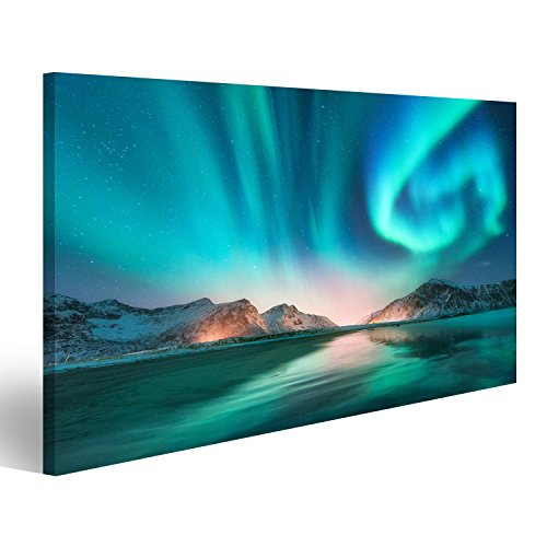 islandburner Bild Bilder auf Leinwand Aurora Borealis in den Lofoten Inseln, Norwegen. Aurora.Grüne Nordlichter. Sternenhimmel mit Polarli Wandbild, Poster, Leinwandbild JTU