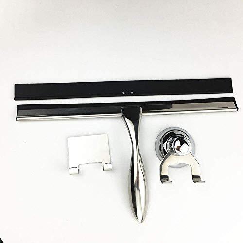 TEHWDE Rakel Fensterreiniger Duschschaber Edelstahl für Badezimmertür und Autospiegel Scheibenwischer Scheibenreinigung mit Super Saugnapf Haken