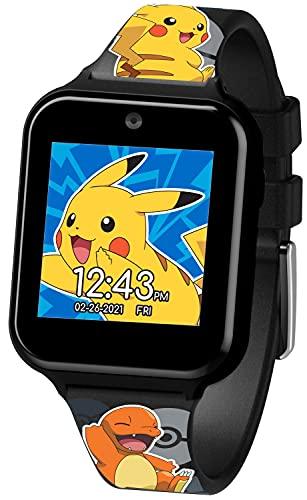 Accutime POK4231 Kinder Smart Watch Pokémon, Kinderuhr mit Selfie Kamera, Foto & Video, Stoppuhr, 3 Hintergründe, 10 Zifferblätter, Diktiergerät, Wecker, Smartwatch Uhr für Jungen und Mädchen, schwarz