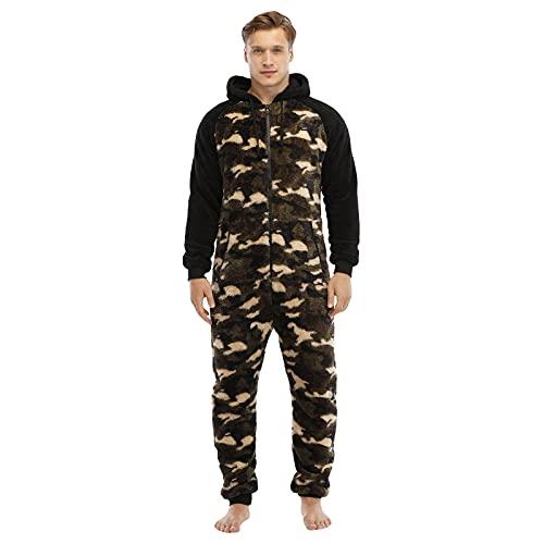 Einteiliger Herren-Schlafanzug mit Kapuze und Reißverschluss, Einteiler, Nachtwäsche, Morgenmantel, Freizeitanzug, Sportbekleidung, Spielanzug, All-in-One-Kapuzenpullover