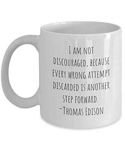 Dozili Thomas Edison citaten ik ben niet ontmoedigd omdat elke verkeerde poging weggegooid is een andere stap voorwaarts keramische koffie mok geschenk, 11 Oz, wit