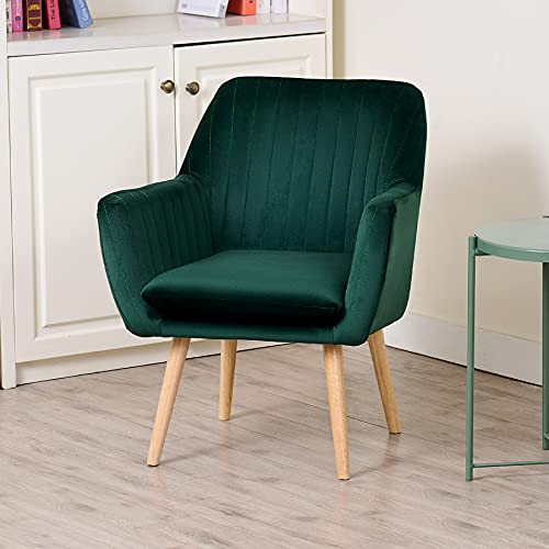 CO-Z Modern Dining Chair   45cm Upholstered Armchair with Velvet Cover and Round Backrest   Channel Tufted Tub Chair with Rubberwood Legs for Bedroom Living Room and More (Green)