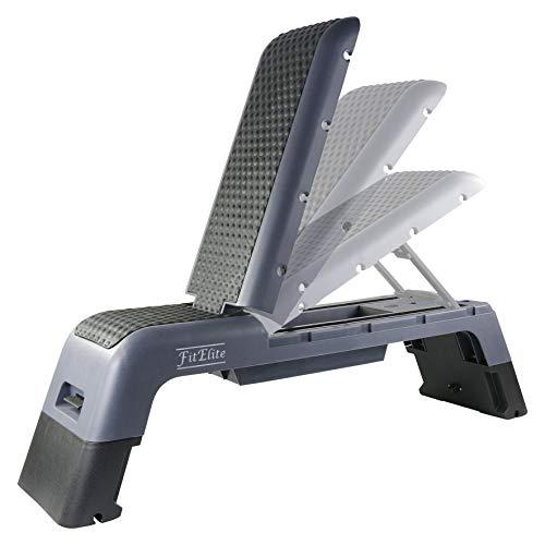 FitElite(フィットエリート) マルチフィットネスデッキ (アジャスタブルベンチ、ステップ台、踏み台昇降台、ワークアウトデッキ、ジャンプボックス)【トレーニングチューブ付属】多目的なエクササイズにフル活用