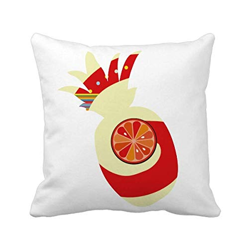 Bella87 G Alfabeto naranja fruta lindo patrón piña tiro almohada cuadrado cubierta