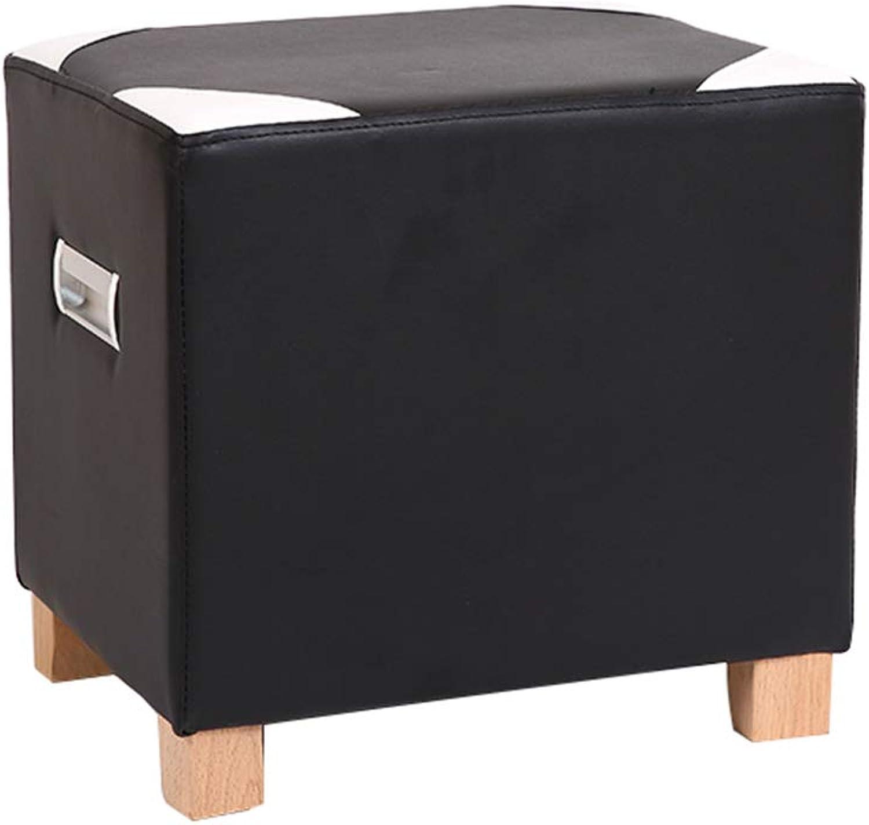 Footstool, Home Bedroom Living Room Stool - Modern Minimalist Sofa Stool - Solid Wood Leg Fabric Leather Stool