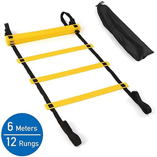 Oefening Ladder, 20 Ft 12 Speed Agility Ladders met Carry Bag - instelbare afstand - voor voetbal, basketbal, Coördinatie & Athletic Skills Training