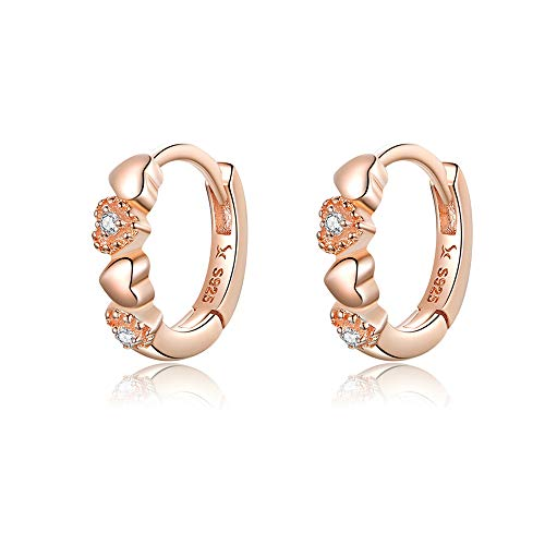 Double Love Heart Cubic Zirconia Sleeper Small Hoop Earrings for Women Teen Girls S925 Sterling Silver Cartilage Tiny Cute CZ Huggie Hoops Clip Hypoallergenic for Sensitive Ear 14K Rose Gold Plated