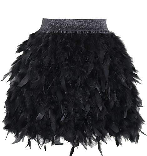 keland Faldas de Mujer para Plumas verdaderamente Naturales, Fiesta Familiar, Falda de Plumas (Negro, M)