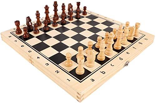 MWKLW Juego de ajedrez Staunton Juego de ajedrez de Madera para niños y Adultos - Juegos de Tablero de ajedrez Plegables Grandes - Almacenamiento de Piezas |Peones de Madera