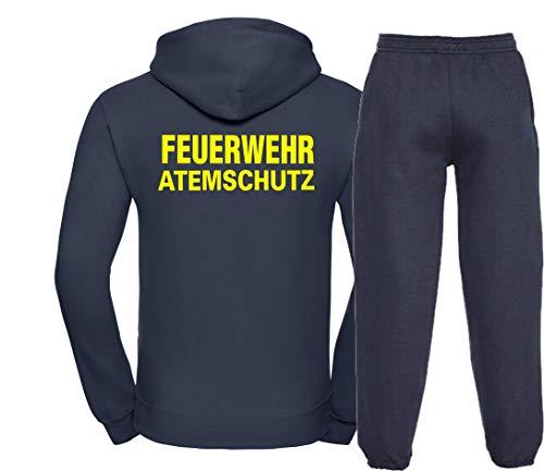 Kapuzen-Jogginganzug Navy, Feuerwehr ATEMSCHUTZ Neongelb L