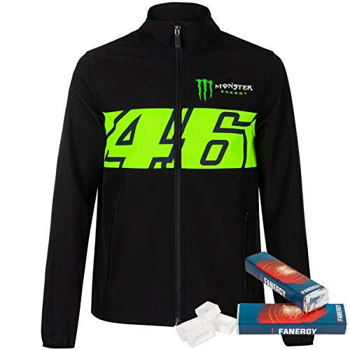 Valentino Rossi Softshell Jacke 46 Monster - schwarz + 2X FANERGY Traubenzucker (L)