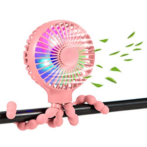 scurry Upgraded Stroller Fan Mini Battery Operated Fan Small USB Rechargable Desk Fan Baby Portable Fan Flexible Tripod Clip On Fan with 3 Speeds Baby Stroller Fans for CarSeat Crib Treadmill (Pink)
