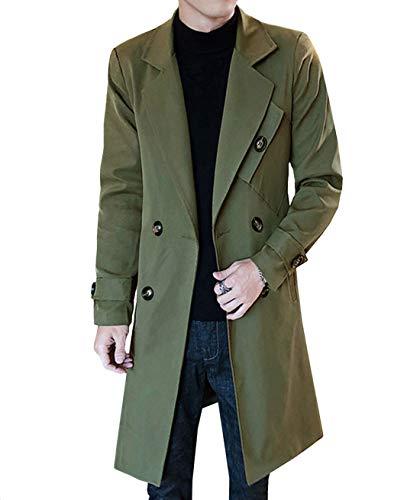 JHIJSC コート メンズ ロング ジャケット トレンチコート ビジネス 秋冬 防寒 防風 大きいサイズ (グリーン, XXXL)