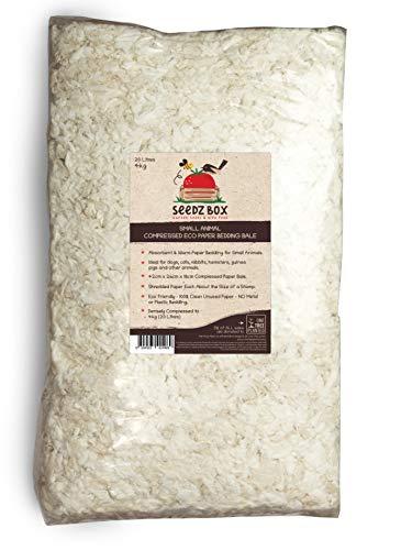 Seedzbox saugfähige und warme Papier-Einstreu - dicht, weich, saugfähig und geruchsreduzierendes Konfetti für Kleintierställe und -käfige - Kaninchen, Hamster, Meerschweinchen, Katzen UVM. - 4 kg