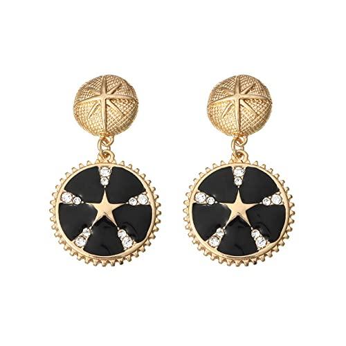 Pendientes de monedas retro de joyería europea y americana pendientes personalizados de gota de aceite estrella luna pendientes