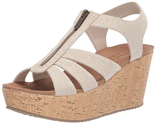Skechers Women's BRIT-Zipper Wedge Quarter Strap Sandal, Natural, 9 M US