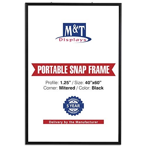 """M&T Displays Portable Snap Poster Frame 40x60 Inch Black 1.25"""" Aluminum Profile Front Loading Wall Mounting Photo Picture Document Certificate Sign Holder Mitered Corner Anti Glare Cover"""