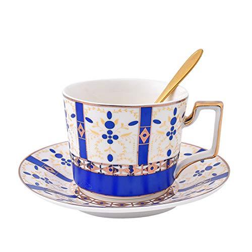 SENFEISM Taza de Trabajo Juego de Taza y platillo de café de Porcelana de Hueso Rosa de Estilo británico Té de la Tarde de Gama Alta Té de Flores de Estilo Pastoral