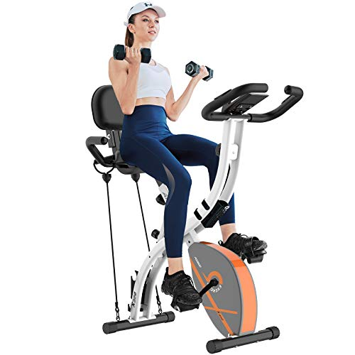 Afully Folding Magnetic Exercise Bike Adjustable Resistance Home Indoor Stationary Upright Cycling Bike With Arm Resistance Bands ,Dumbbells, LCD Monitor ,Phone Holder, 220 lb Max