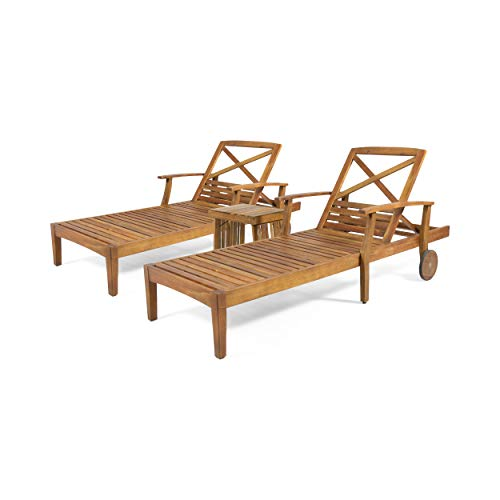 Christopher Knight Home 312747 Donald Outdoor Acacia Wood Chaise Lounge Set, Teak Finish