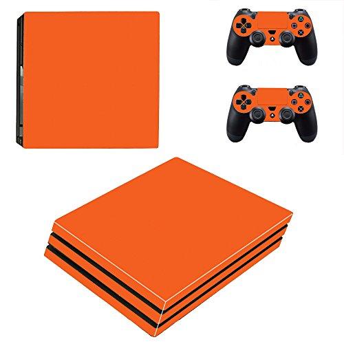 Kompatibel für Playstation 4 Pro Orange Glanz Design PS4 Skin Schutzfolie Faceplate Aufkleber Sticker Cover Folie SET für Konsole + 2 Controller Skins ( Herstellung in Deutschland )