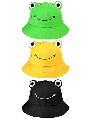 3 Stücke Erwachsene Süß Frosch Eimer Hut Fischerhut Baumwolle Sonne Eimer Hut