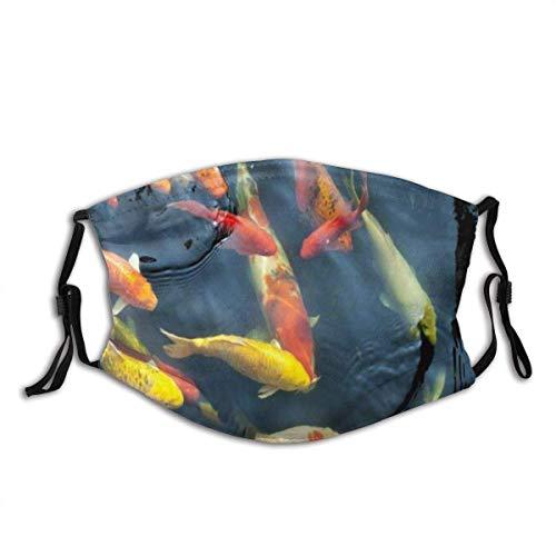 Koi Karpfen Fische Schwimmteich Haustier Tier Natur Asien Asiatische Fisch Farbe Sturmhaube Unisex Wiederverwendbarer Mundschutz im Freien
