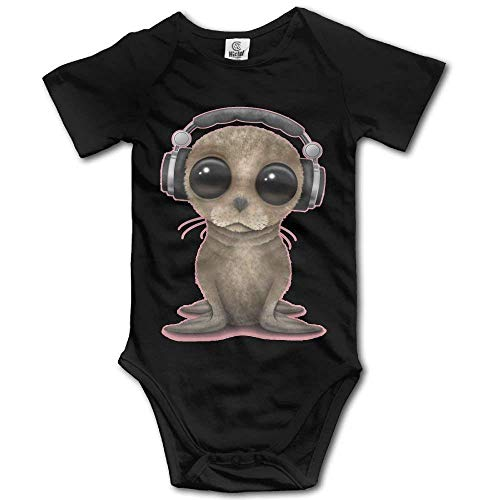 SDGSS Combinaison Bébé Big Eyes Seals with Headphone Cute Unisex Short Sleeve Baby