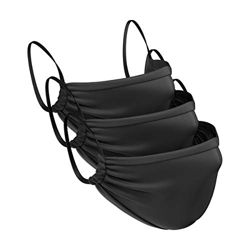 Anti-Micro Face Mask, 3 Pack | Large - Unisex Adult | Built-In Nose Wire, Adjustable Sides, Gentle on the Ears, Moisture Wicking, Breathable, Reusable & Washable Face Cover (BLACK)
