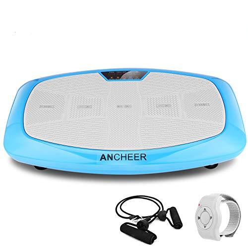 ANCHEER Vibrationsplatte Ganzkörper Trainingsgerät, 3D Vibrationsgerät mit Großer Rutschsicherer Trainingsfläche + Innovativer Vibration + LCD Display + Fernbedienung + Trainingsbänder, max.150kg