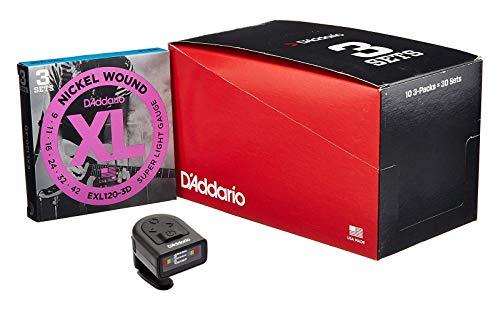 D'Addario ダダリオ エレキギター弦 ニッケル SuperLight .009-.042 EXL120-3D 3set入りパック x 10セット + Planet Waves マイクロヘッドストックチューナー