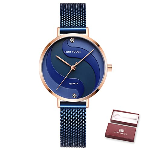 KLFJFD Señoras Elegante Temperamento Rhinestone 30m Reloj Impermeable Chica Tendencia Pequeño Reloj De Cuarzo Fresco Estudiante Simple Casual Banda De Acero Reloj Regalo De Cumpleaños
