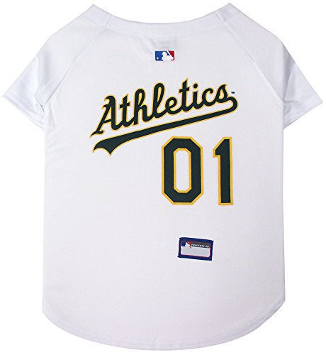 Pets First MLB Oakland Athletics Dog Jersey, Small. - Pro Team Color Baseball Outfit