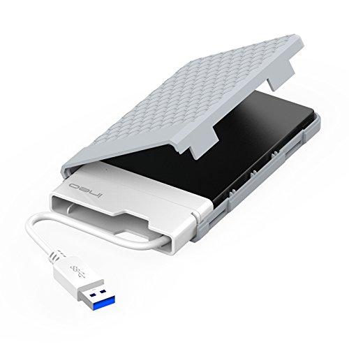 ElecGear Carcasa Box Externa USB 3.0 a SATA para 2.5'' Disco Duro SATA Hard Disk Drive HDD y SSD, Caja con SuperSpeed 9.5mm/7mm Harddisk Estuche Adaptador Caddy, UASP, Tipo A Cable Integrado