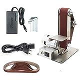 Ponceuse à Bande KKmoon Ponceuse Bande 4500-9000RPM avec 6 Vitesses Variables,10PCS Bandes Abrasives, 5PCS Clé, Machine de Découpe de Table à Affûteuse à Angle Fixe