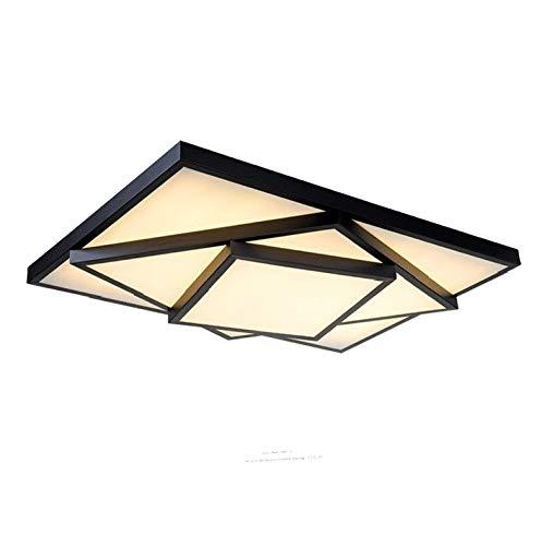 Style home 48W LED Deckenlampe Deckenleuchte Voll dimmbar mit Fernbedienung für Wohnzimmer Schlafzimmer Kinderzimmer Rechteckig (Schwarz)