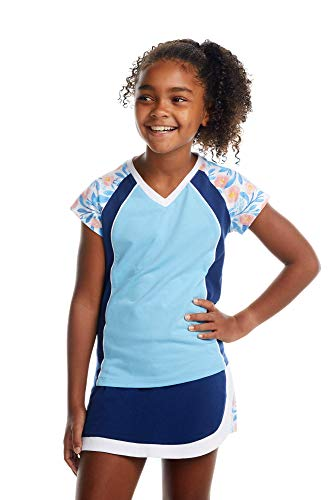 Street Tennis Club Girls Tennis and Golf Shirt with Skirt Blue Floral Size L |Stretchable, Machine Washable, Breathable Fabric