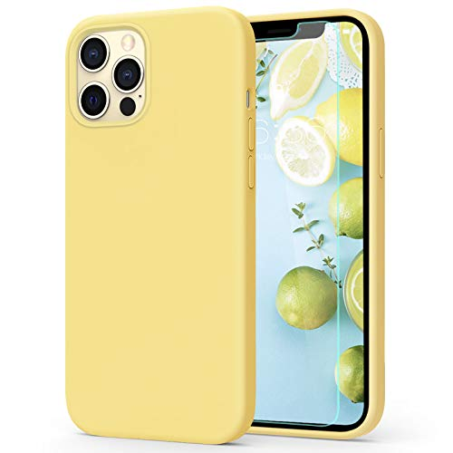 MILPROX Compatible with iPhone 12 Pro Max Case (2020) with Screen Protector, Liquid Silicone Gel Rubber Shell Soft Microfiber Cloth Lining Cushion Cover Case -Lemon Yellow