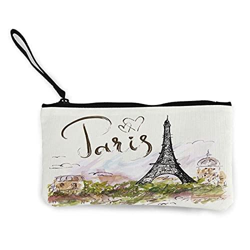 Lawenp Monedero Dibujado a Mano París Torre Eiffel Lona Bolsa de Dinero Bolsa Muñequera Cartera Cremallera Tarjetero de identificación