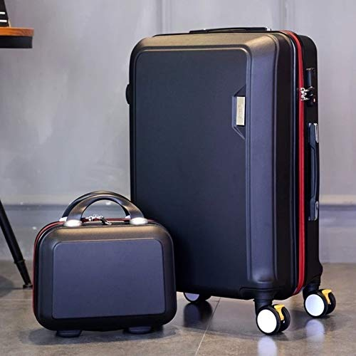 Mdsfe Set di valigie rotabili Coreane Spinner Ruote da Valigia da Donna Trolley Borsa da Viaggio da 20 Pollici Borsa da Viaggio per Uomo Tronco - Nero (Set), 26