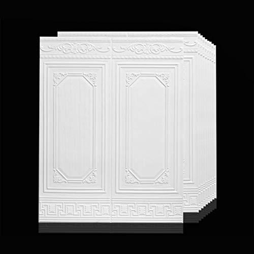 Wallpaper buccia e bastone, pannelli di parete 3d for interni decorazione della parete, impermeabile e anti-collisione gomma piuma del PE pannelli a muro confezione da 10 (Colore : Bianca)