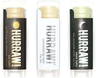 Hurraw! Lip Balms 3-pack: Sun with SPF 15, Unscented, Moon by Hurraw! Balm