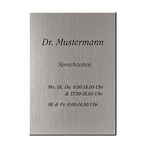 Praxisschild mit persönlichem Wunschtext selbst gestalten, Türschild silber-metallic, 300 x 400 mm, Gravurtext schwarz – Kanzleischild, Firmenschild