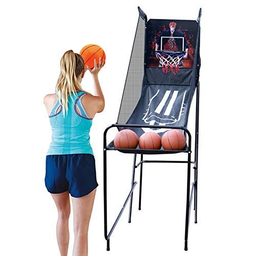 Juego de Baloncesto Juego Arcade de Baloncesto Individual - Juego de Aro de Tiro Electrónico Plegable con 3 Bolas, Tablero de Puntuación LED y Sonido Arcade - Construcción de Acero Resistente