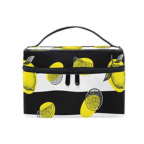 Trousse de maquillage, motif avec imprimé citron - Organiseur de produits cosmétiques - Grande poignée de voyage - Pochette personnalisée avec compartiments pour adolescentes et femmes