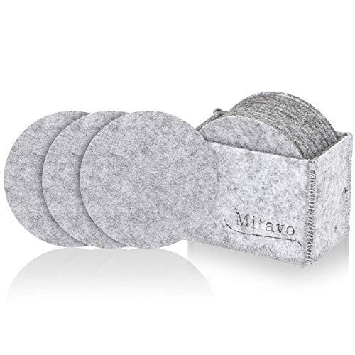 Mitavo vilten onderzetters rond - 10-delige premium set met doos, glasonderzetters in lichtgrijs voor glas, dranken, glazen, kopjes