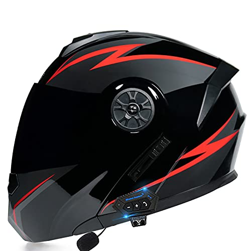 Bluetooth de la Motocicleta Casco,Tipo Modular de Doble volteo Visera del Casco Completo,Dot Certificado Casco,Incorporado en MP3 FM Broadcast Integrado de Sistema de comuni L,XL